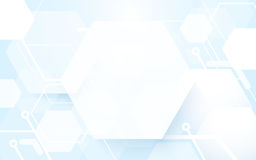 Abstract hexagonal shape repeating on blue and white background. Space for your text Stock Photo