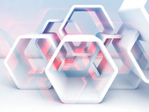 Abstract hexagonal structure with blue and red. Sections. Computer graphic background useful as a wallpaper image. Double exposure effect, 3d render Royalty Free Stock Photos
