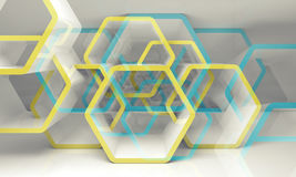 Abstract hexagonal structure, blue and yellow 3d. Abstract hexagonal structure with blue and yellow sections. Computer graphic background useful as a wallpaper Stock Illustration