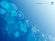 Abstract hexagonal structure of the molecules. The chemistry molecular study. Technology blue color background. vector illustration