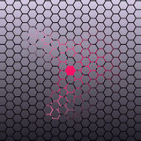 Abstract Hexagonal tile dark background with pink neon light. Royalty Free Stock Images