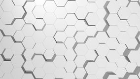 Abstract hexagonal white background. Seamless loop sequences. stock illustration