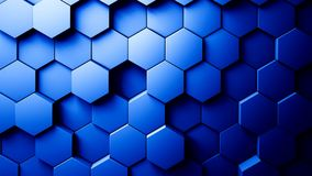 Abstract Hexagons Background. Blue color 3d rendering Royalty Free Stock Images
