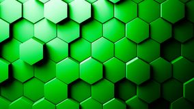 Abstract Hexagons Background. Green color 3d rendering Royalty Free Stock Photos