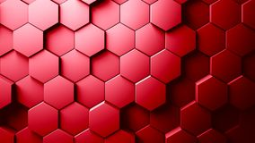 Abstract Hexagons Background. Red color 3d rendering Royalty Free Stock Photography