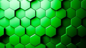 Abstract Hexagons Background. Green color 3d rendering stock illustration