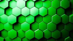 Abstract Hexagons Background. Green color 3d rendering Stock Photography