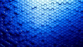 Abstract Hexagons Background Random Motion, Blue color 4K vector illustration