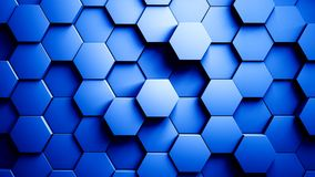 Abstract hexagons background random motion, blue color 4k stock video footage