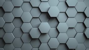 Abstract Hexagons Background Random Motion, 3d Animation royalty free illustration