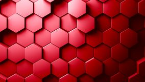 Abstract hexagons background random motion, red color 4k royalty free illustration