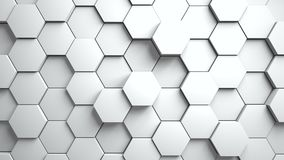Abstract hexagons background random motion. White color 4K stock video footage