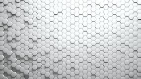 Abstract Hexagons Background Random Motion. White color 4K royalty free illustration