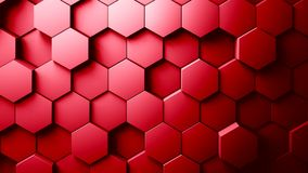 Abstract Hexagons Background. Red color 3d rendering Stock Image