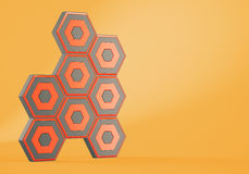 Abstract hexagons on orange background Royalty Free Stock Photography
