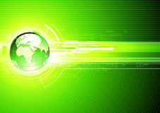 Abstract hi-tech Background. Vector illustration of abstract hi-tech Background with Glossy Earth Globe Royalty Free Stock Photo