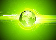 Abstract hi-tech Background. Vector illustration of abstract green hi-tech Background with Glossy Earth Globe Stock Photo