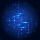 Abstract hi-tech circuit blue background. Vector illustration. Royalty Free Stock Photo