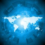 Abstract hi-tech design. Dark bluetechnology background with world map. Vector illustration eps 10 Royalty Free Stock Photography