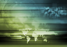 Abstract hi-tech design. Bright technology background with world map Stock Photography