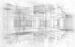 Abstract hi-tech drawings background 3d interior. Abstract hi-tech drawings background. White interior with chaotic cubic geometric constructions, paper texture Stock Image