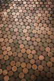 Two Pence Coin Flooring. Abstract high angle view of a floor which has been made out of two pence coins stock photography