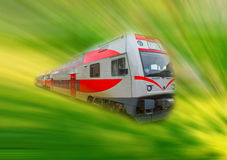 The abstract high speed modern commuter train, motion blur Royalty Free Stock Photography
