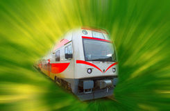 The abstract high speed modern commuter train, motion blur Royalty Free Stock Image