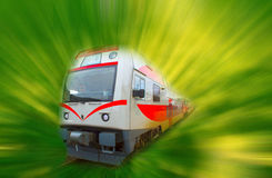 The abstract high speed modern commuter train, motion blur Royalty Free Stock Photo