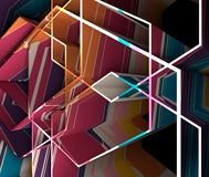 Abstract high tech background. Abstract high tech geometry background. Multicolored abstraction. 3D rendering Stock Photo