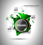 Abstract high tech background with triangula shape explosion effect. And a circular glass panel to show your message or title Stock Photography