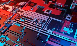 Abstract high tech electronic PCB Printed circuit board background in blue and red color. 3d illustration.  royalty free stock image