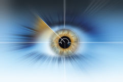 Abstract high tech eye background. Abstract high tech eye with blue background with black iris Stock Image