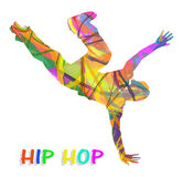 Abstract hip-hop dancer. On white background Stock Photos