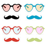 Abstract hipster glasses with mustache Royalty Free Stock Photo