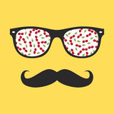 Abstract hipster glasses with mustache Royalty Free Stock Images