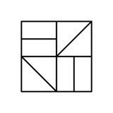 Abstract hipsterembleem in moderne lineaire stijl Stock Fotografie