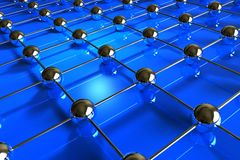 Abstract hitech background. Network made from shiny golden spheres on blue reflective surface Royalty Free Stock Photo