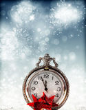 Abstract holiday background with clock close to midnight Royalty Free Stock Image