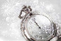 Abstract holiday background with clock close to midnight Royalty Free Stock Images