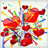 Abstract holiday background of explosion heart. Royalty Free Stock Image