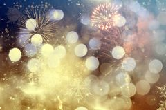 Abstract holiday background with fireworks. Abstract colorful holiday background of sky with fireworks and stars Royalty Free Stock Images