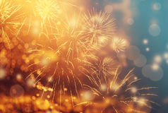 Abstract holiday background with fireworks Stock Image