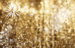 Abstract holiday background - fireworks at New Year and copy spa Royalty Free Stock Images