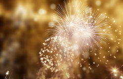 Abstract holiday background - fireworks at New Year and copy spa Stock Images
