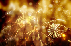 Abstract holiday background - fireworks at New Year and copy spa Stock Image