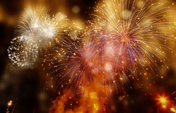Abstract holiday background - fireworks at New Year and copy spa Royalty Free Stock Photo