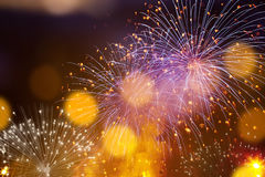 Abstract holiday background - fireworks at New Year and copy spa Stock Photo