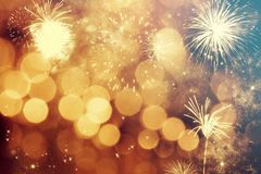 Abstract holiday background with fireworks and stars Stock Image