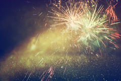 Abstract holiday background, glitter lights and firework overlay Royalty Free Stock Photos